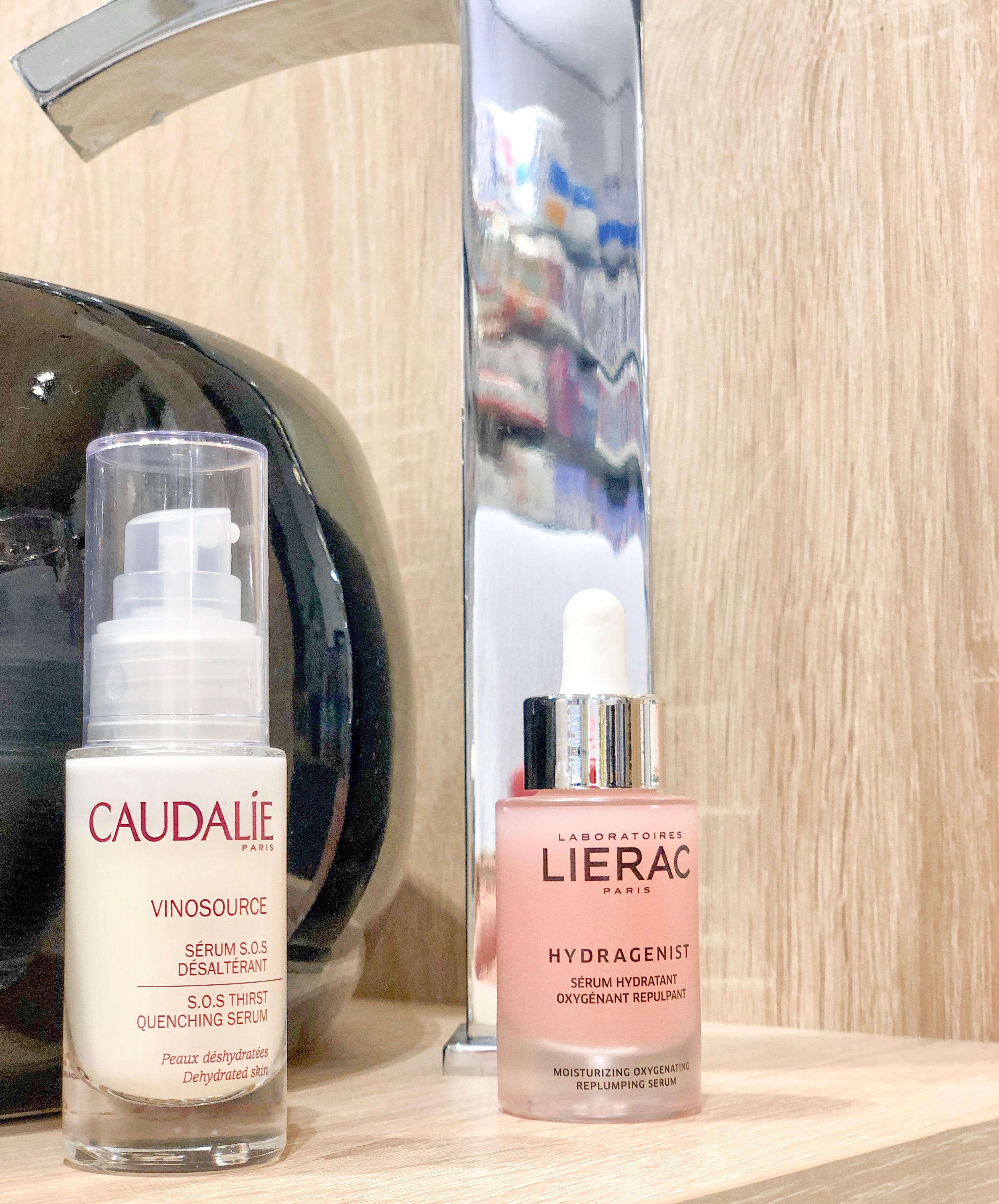Seum vinosource SOS (Caudalie) y Serum Hydragenist (Lierac)